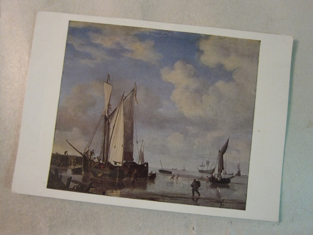 National Gallery, Card No. 1115. Van de Velde: Coast Scene: Calm (871).  Printed in Great Britain for the Trustees under the authority of Her Majesty's Stationery Office by Waterlow & Sons Limited, London.  Wt: P1838